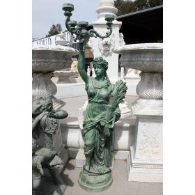Mujer con espigas lamparera de bronce