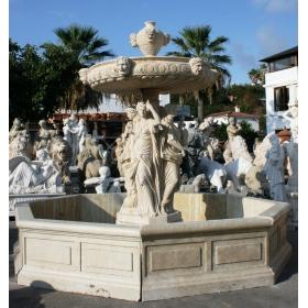 Fuente cuatro mujeres clasicas de travertino romano imitacion antiguo de mármol