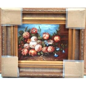 Oleo pintado a mano sobre tabla con marco c1012
