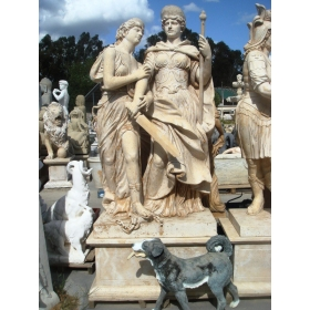 Escultura con peana dos personajes realizado en mármol de estilo romano