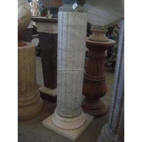 Peana de mármol blanco veteado clásica
