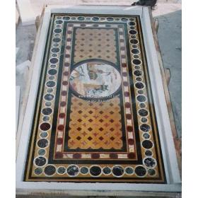 Tablero de mesa rectangular con paisaje de incrustaciones de piedras duras
