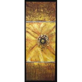 Cuadro abstracto pintado a mano sobre lienzo con marco