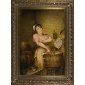 Retrato de dama haciendo la colada