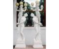 Pareja de mujeres lampareros de mármol blanco carrara