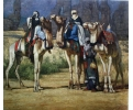 Cuadro oriental de paisaje con camellos
