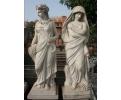 Pareja de esculturas estaciones de mármol