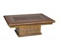 Mesa rectangular de café con tapa de latón labrado y espejo, firmada rodolfo dubarry, años 80