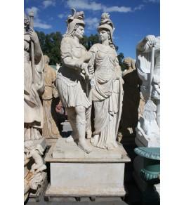 Escultura con peana dos personajes