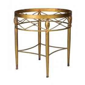 Mesa circular de metal dorado con decoración simulando cuerdas, años 80