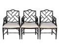 Lote de tres sillones de madera lacada de negro simulando bambú, años 80