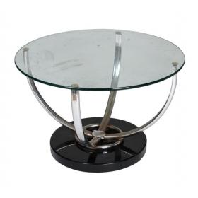 Mesa auxiliar circular con pie de acero y tapa de cristal