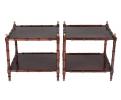 Pareja de mesas auxiliares de madera simulando bambú policromadas de granate