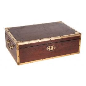 Caja de escritura de caoba con bandas de latón dorado, Inglaterra, S.XIX