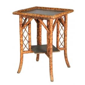 Mesa de juego de bambú y tapete verde