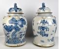 Pareja de tibores de porcelana de china en azul cobalto