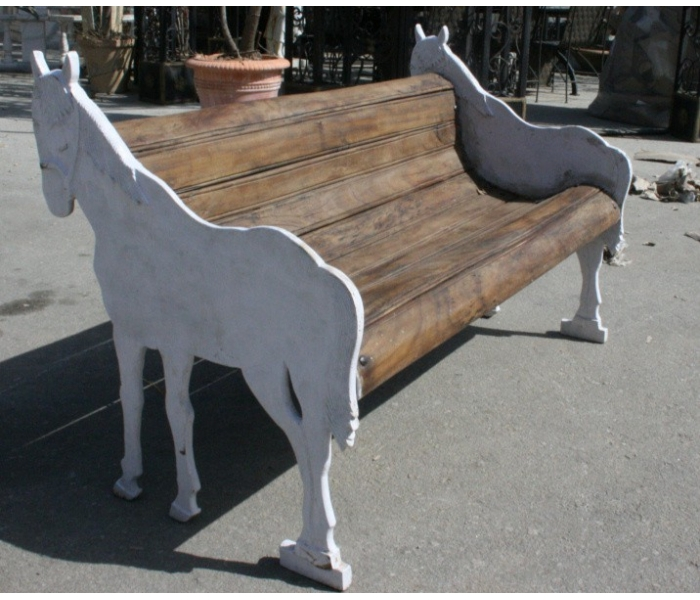 Cast Iron Horse Shaped Bench with...