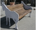 Cast Iron Horse Shaped Bench with Wooden Planks