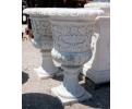 Pareja de copas de mármol talladas a mano con detalles de flores