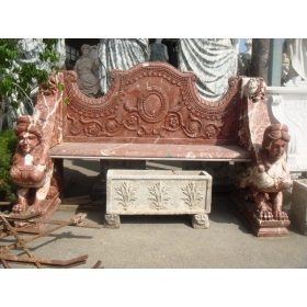3-Seater Red Marble Bench...