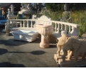 Large Romano Travertine Bench with Sphinxes