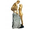 Escultura de hombre satiro y mujer sobre peana. realizado en bronce