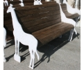 Cast Iron Giraffe Shaped Bench with Wooden Planks
