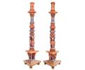 Pareja de hacheros en madera tallada y policromada del s. xviii.