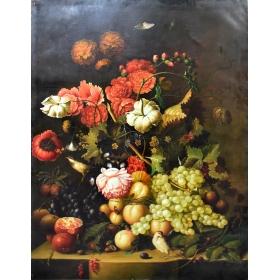 Bodegón de flores y frutas