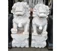 Pareja de esculturas leones de Fu realizados en mármol