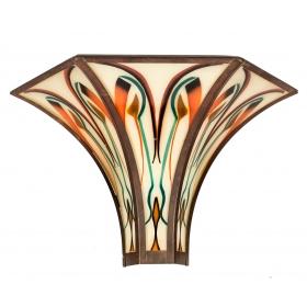 Aplique de pared Art Decó de cristal con decoración esmaltada y latón
