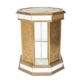 Pedestal octogonal de latón y espejo, años 80.