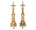 Pareja de grandes hacheros de madera tallada y dorada, Italia, S.XVIII