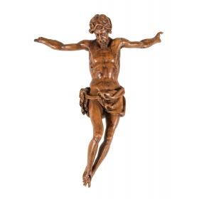 Cristo de tres clavos de madera de nogal tallado, S XVIII.