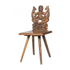 Silla holandesa de madera de roble con respaldo tallado con figura de Náyade, S.XVIII - XIX