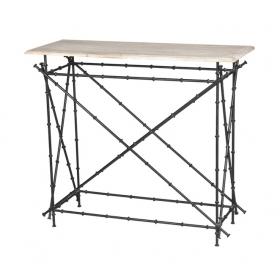 Consola de hierro simulando bambú con tapa de madera S.XX