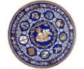 Tablero de mesa redondo con incrustaciones de piedras duras de lapis lazuli