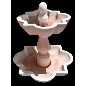 Fuente de dos platos realizada en mármol blanco