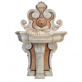 Fuente de mármol para pared de estilo barroco