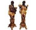Pareja de esculturas lampareros Zeus y su mujer Hera fundidos en bronce y policromados.