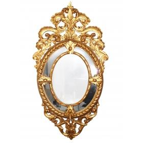 Espejo dorado estilo barroco . Siglo XIX