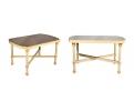 Pareja de mesas auxiliares de madera policromada en crema y rosa con tapa de espejo