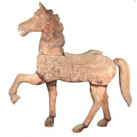 Caballo de madera tallada de tío vivo del S XIX