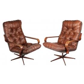 Pareja de sillones de cuero años 70 giratorios
