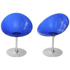 Pareja de sillas italianas de color azul diseñadas por Philippe Starck