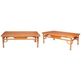 Pareja de mesas de centro realizada en mimbre y bambú de los años 80
