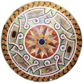 Mesa de piedras duras circular con incrustaciones de piedras duras. Formas geométricas