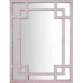 Espejo rectangular de ratán en color rosa