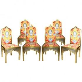 Set de seis sillas de estilo oriental realizadas en latón dorado. Años 70