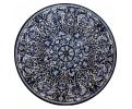 Tablero de mesa redondo en mosaico de piedras duras semipreciosas y mármoles